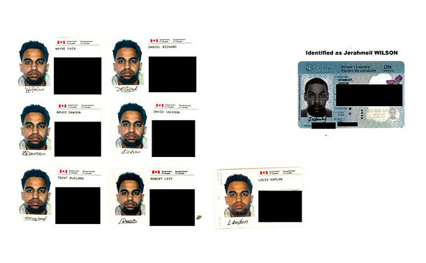 A man's face on several identification cards
