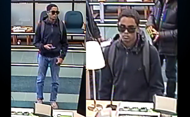 Two security camera images of a man in a bank lobby