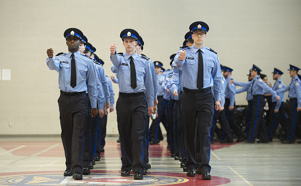 A group of special constables marching