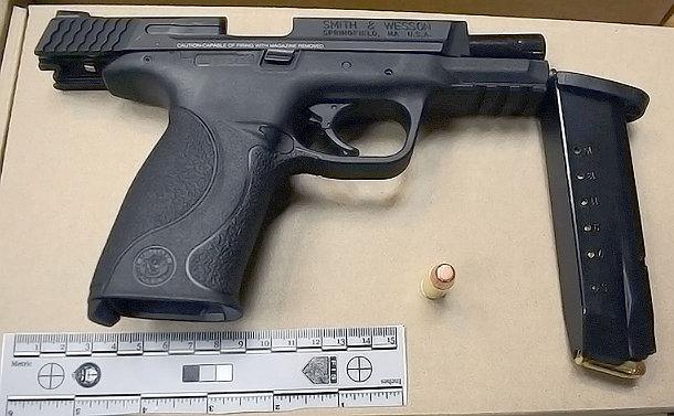 Smith & Wesson model handgun; an ammunition magazine; a loose bullet