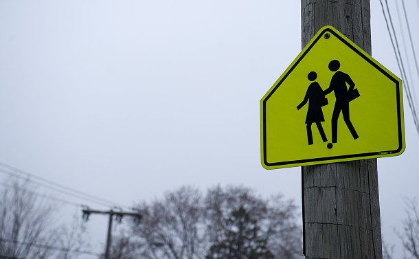 A school zone sign