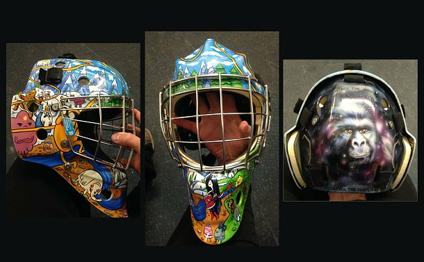 A ice hockey goalie mask with an image of a gorilla