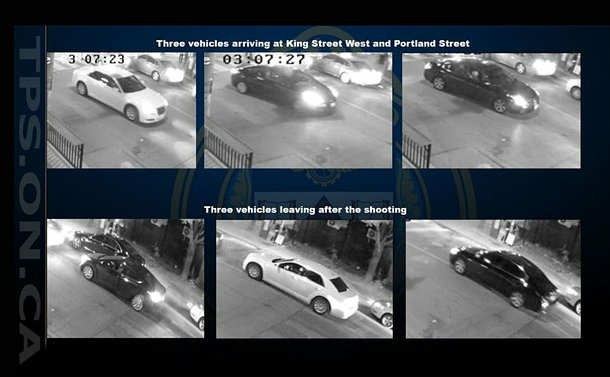 Six images of vehicles on security cameras