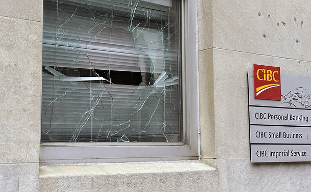 A bank branch window, broken during G20 protests in Toronto