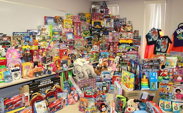 Toys piled on tables