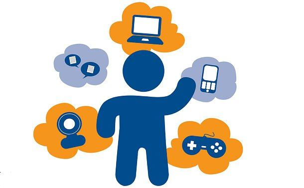 A stick figure surrounded by thought bubbles with icons representing a computer, phone, video game controller and text messages