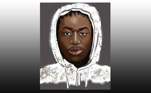 A sketch of a man in a hood