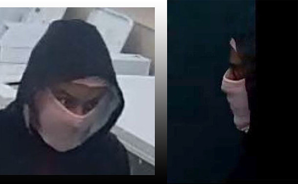 Two close ups of a man with his face covered