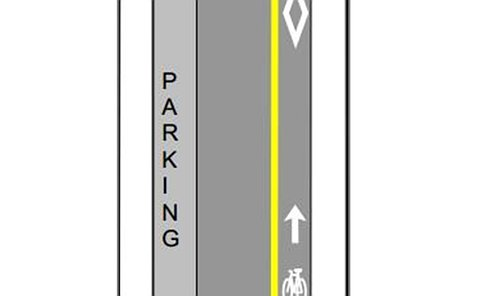A diagram depicting a parking area of a street adjacent to a bike lane