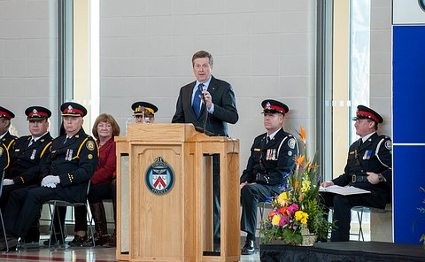 Mayor John Tory at the podium