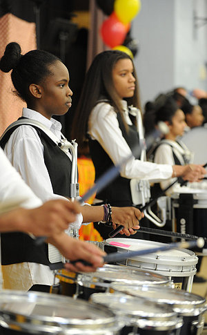 Teenage girls drumming