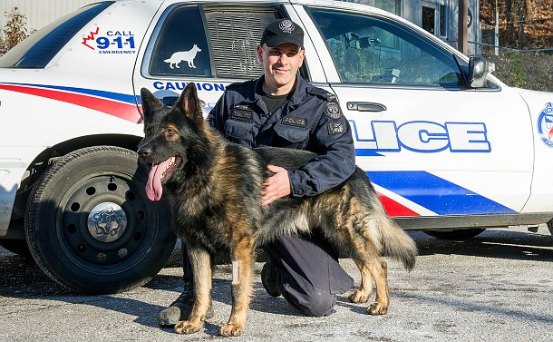 A man in TPS uniform kneeling beside a German Shepherd in front of a TPS scout car