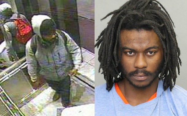 Two images side by side; left image is a security camera still of a man in an elevator; right image is a closeup of the man with braided hair