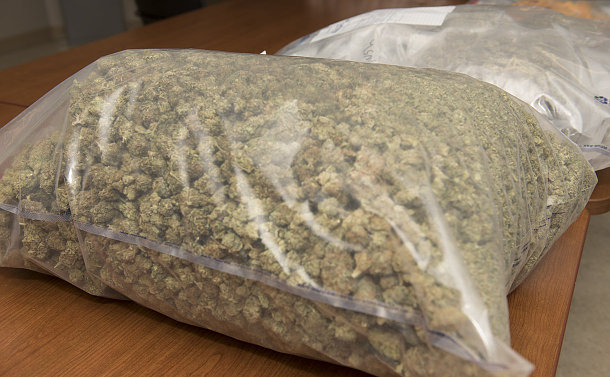 A large plastic bag of marijuana