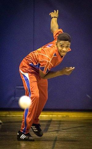 A boy throwing a ball