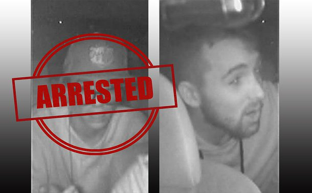 Two separate grainy, black and white images of men. One wears eyeglasses and a hat. The photo on the left has the word arrested over top.