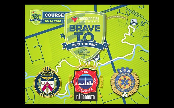 A map and TPS, Toronto Paramedic and Toronto Fire logos