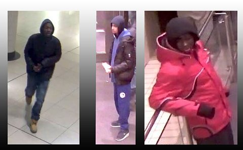Three images of men taken from overhead security cameras