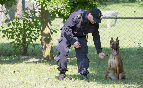 A man in police uniform with a dog on a leash
