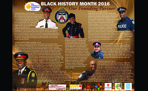 A group of men and women in TPS uniform with the words Black History Month 2016 Our Founding Partner