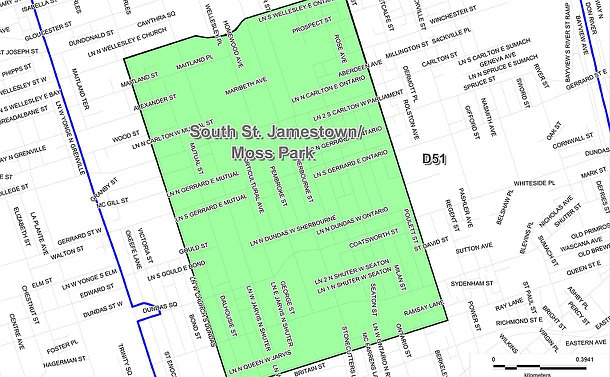 A map marked South St. Jamestown/Moss Park