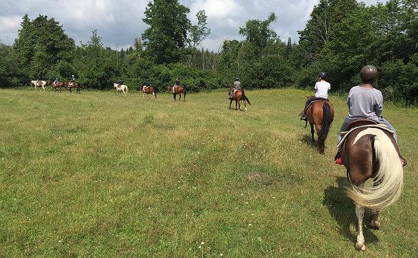 A group of children on horseback