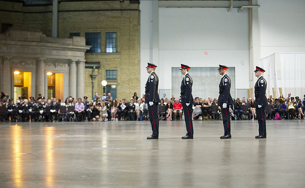 Four TPS officers line up