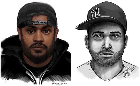 Two sketches of a man in a baseball hat