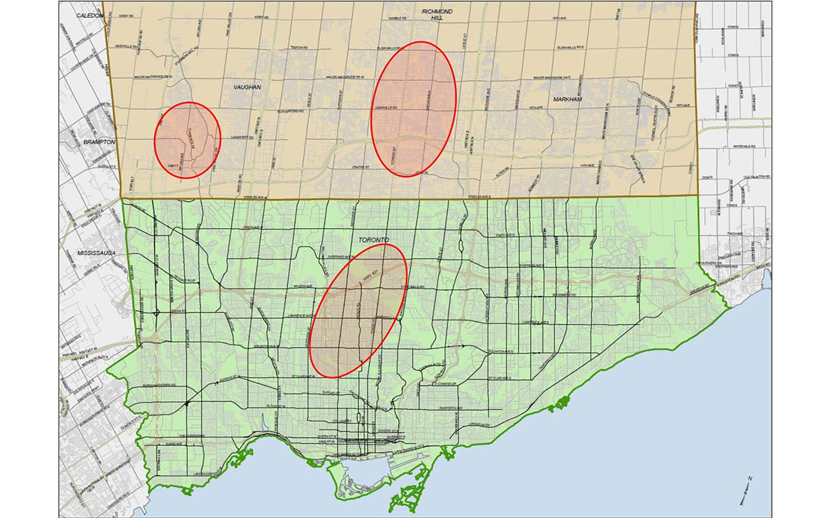 City of Toronto map with three circled areas which were targeted with break-and-enters
