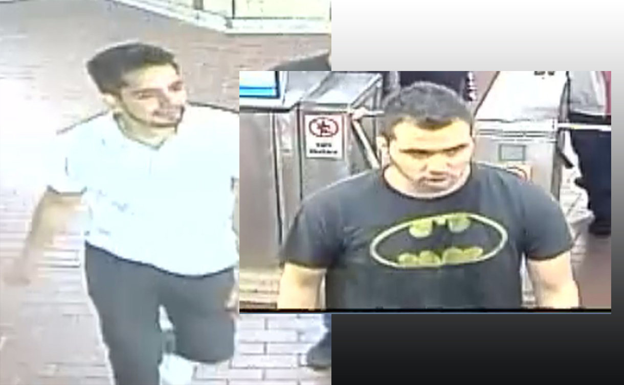Two security camera images of men