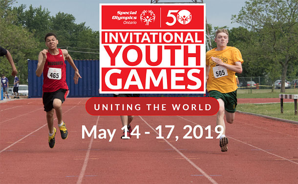 A screenshot of the Invitational Youth Games website showing couple of youth competing in the track and field