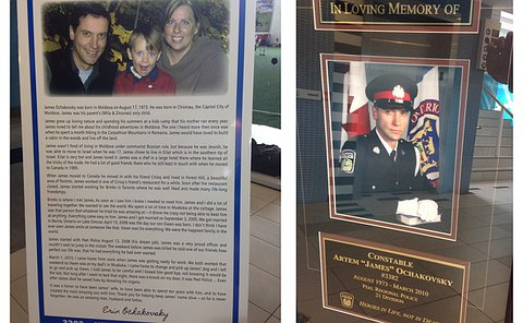 A framed letter and plaque with a man in Peel Police uniform