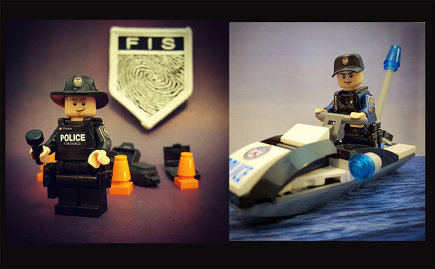 A TPS lego figure near an FIS logo and on a boat