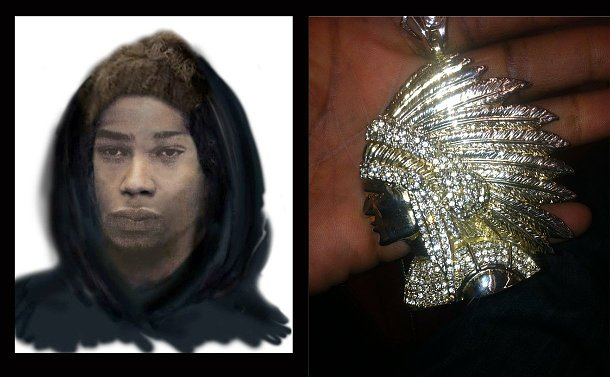A drawn close up of a man and a gold and diamond pendant of a native man in headdress