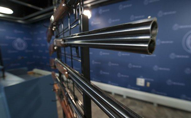 Several long guns on a metal rack