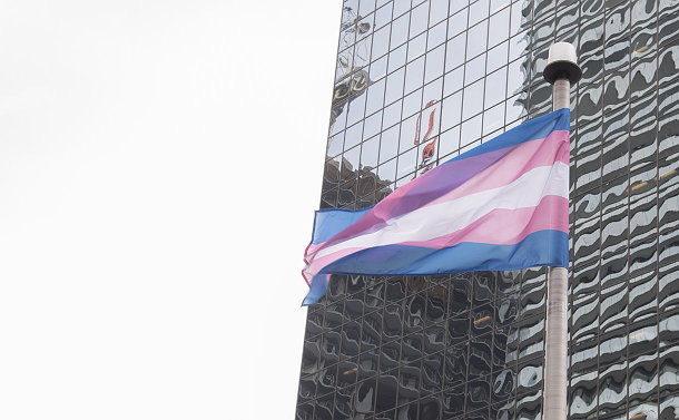 A blue, white and pink flag