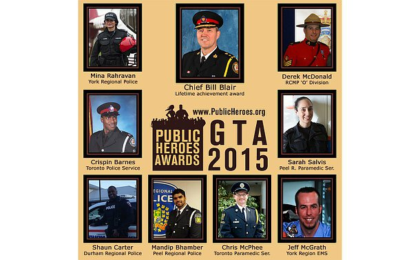 A poster featuring photos of nine men and women with the text: www.publicheroes.org Public Heroes Awards GTA 2015
