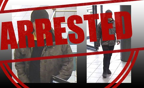 Security video of man with word arrested overtop