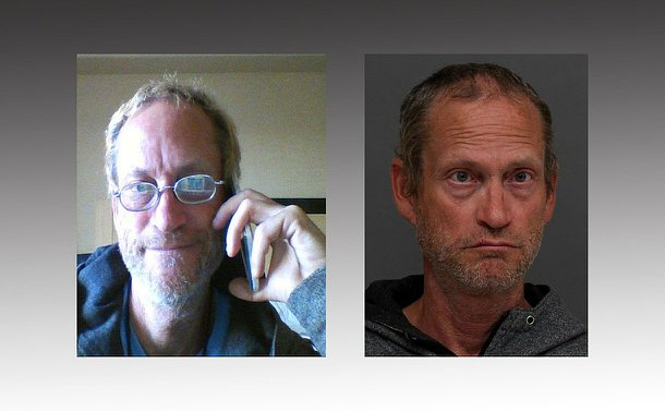 two photos, one of a man with greying hair, mug shot style. Second photo on left of a webcam photo of a man in his living room, face visible wearing a dark colured shirt, glasses and smiling.