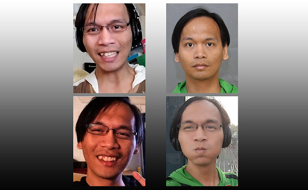 four close up photos of the same man