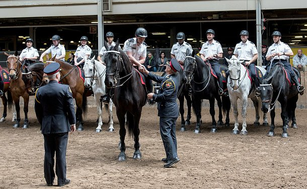 A woman on a horse in uniform shaking the hand of a command officer who is standing next to the horse