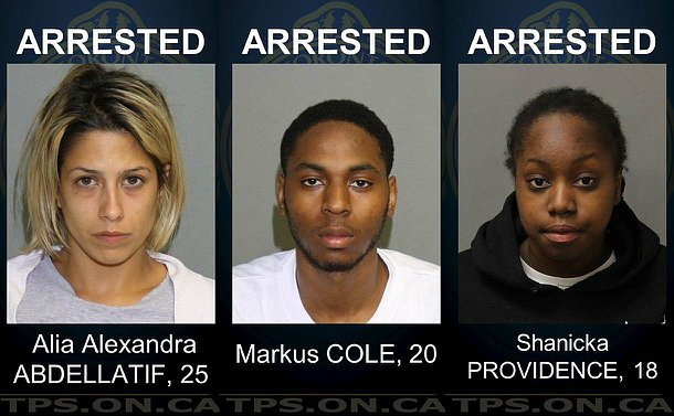 Photos of three suspects arrested by police