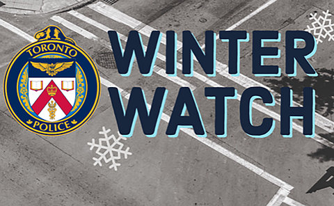 A TPS logo and Winter Watch in an intersection