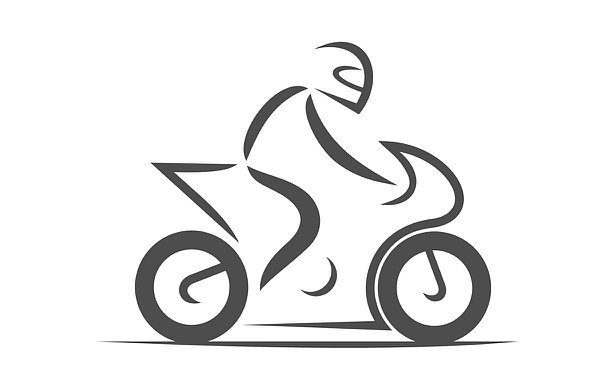 Illustration of motorcycle with a person on it pointed to right