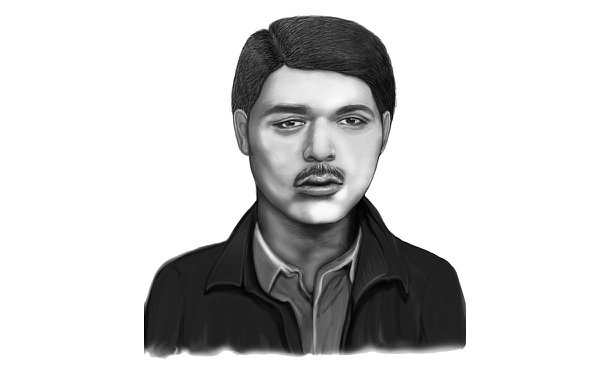 Composite sketch of a man with a mustache wearing a jacket and a shirt underneath