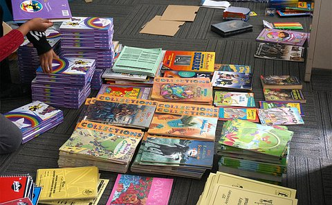 Stacks of books on a floor