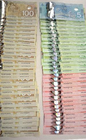 100, 20, 50 dollar bills on a table