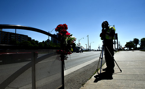 A person with radar gun in silhouette near flowers