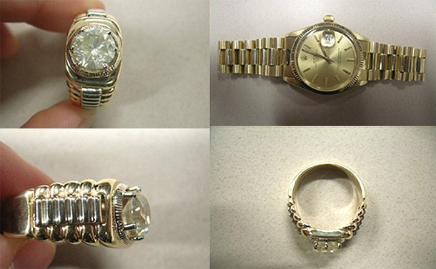 Four pictures: one of a gold watch straight on and three others of a gold diamond ring from top, side and straight on perspectives