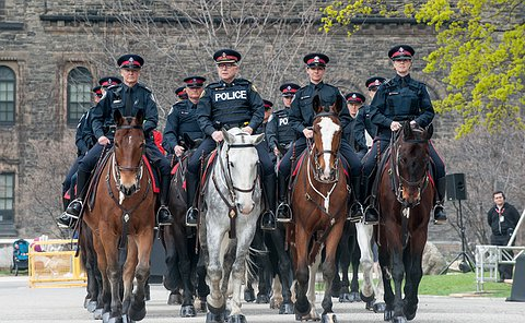 Officers on horses facing the camera. Four officers are on four horses.